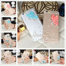 3D Bling Diamond Transparent TPU Soft Ultra Thin Back Case Cover For Phones #N5