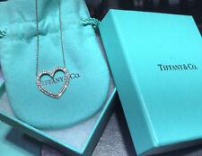 RETAIL $5900 Tiffany Co Metro Platinum Diamond Large Open Heart Pendant Necklace