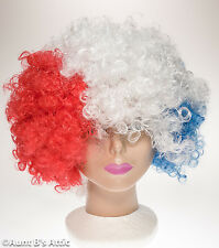 Wig Afro Style Red White & Blue Patriotic  Synthetic Fiber Clown Afro Wig