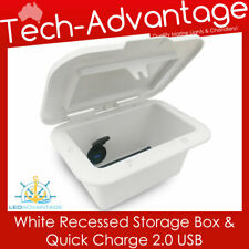 BOAT CARAVAN RECESSED COMPACT COMPARTMENT GLOVE STORAGE BOX & USB CHARGER
