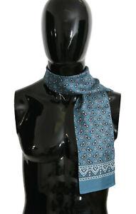 DOLCE & GABBANA Scarf Blue Butterfly Baroque Silk Mens Wrap 110cm x15cm RRP $280