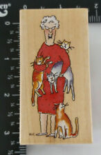 Gladys With Cats Rare Wood Mounted Rubber Stamp Janet Cleland All Night Media