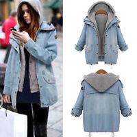 Winter Women's Warm Twinset Hooded Coat Denim Trench Parka Jacket Overcoat M-4XL