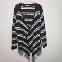 Maurices Cardigan Sweater Striped Open Front Fringe Cozy Lounge Plus Size 3XL
