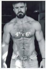 Shirtless Hairy Chest Daddy DILF Hunk Muscles Beard Silver Fox Gay B&W 4x6 Photo