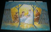 "CHRISTMAS Nativity Scene w/ Childre & Lamb 9.25x6.25"" Greeting Card Art #FL56"