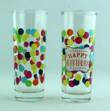 Slant Collections Happy Birthday Party Shot Glass Set of 2 Polka Dots Confetti
