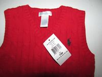 Polo Ralph Lauren Sweater Vest Size 12 Months Boys Red Christmas Outfit New NWT