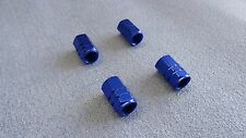 TOYOTA COROLLA BLUE METAL DUST VALVE CAPS TYRE WHEEL ALUMINIUM HEXAGON COVER