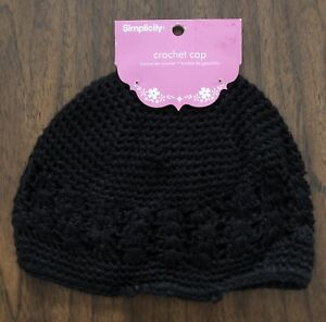 NEW Simplicity Baby Crochet Cap Hat Black Boy or Girl Polyester Elastic DEFECT