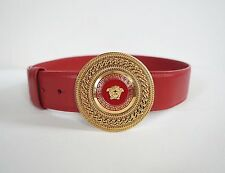 $625 Authentic VERSACE MEDUSA MEDALLION Red Leather Women Belt 75-30 NEW ARRIVAL