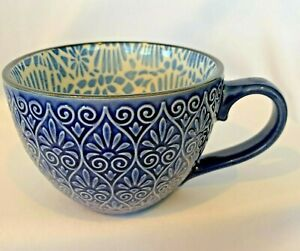 Pfaltzgraff Everyday Large Cup Blue Purple Textured Exterior Floral Interior