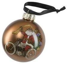 Harley-Davidson® Winter 2020 Biker Santa Ball Glass Ornament, Brown