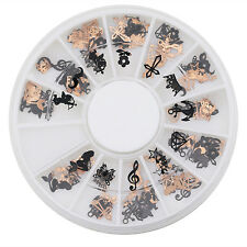 3D Metal Christmas Nail Art Decor Slice Black Stickers Decal Foil Wheel Frugal