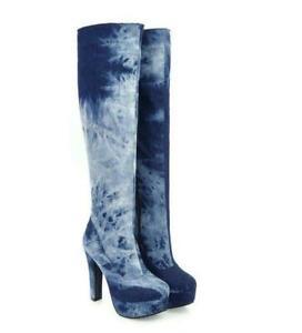 Womens Denim Chunky Heel Round Toe zipper platform party knee high Boots LF00