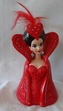 Enesco 1995 Bob Mackie Mattel Barbie Queen Of Hearts Head Vase and Picture #H863