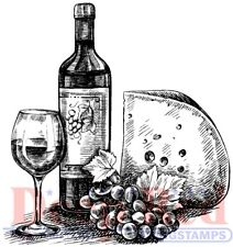 Deep Red Stamps Wine and Cheese Rubber Cling Stamp