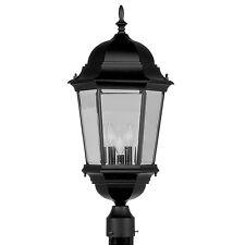 Livex 3 L Hamilton Black Exterior Post Head Lighting Fixture Sale Lamp 7568-04