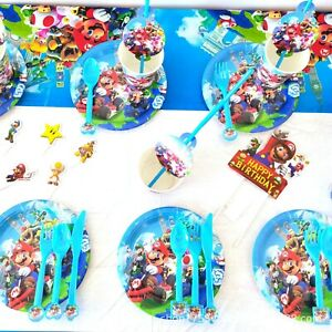 Super Mario Birthday Banner Balloons Bag Napkin Plate Decorations Party Supplies