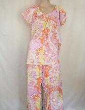 N NATORI Floral Print Polyester Cotton Blend Knit Pajama Set, sz M