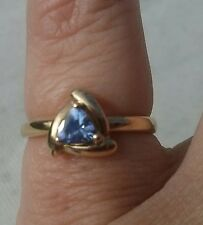 *10K YELLOW GOLD TANZANITE RING~SIZE O~