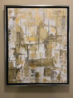 Gold And White Abstract original modern acrylic canvas painting | ships free