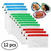 12x Reusable Mesh Produce Bags Washable Eco Shopping Vegetable Fruit Storage Bag