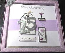 23 x Boxed 25th Silver Anniversary Cards. Handmade Keepsake. Job Lot.