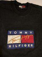 Tommy Hilfiger T Shirt Big Flag Box Logo Spellout Black Mens XL Vtg Embroidered