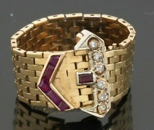 Art Deco 14K 2-tone gold .48CTW diamond & ruby 9.9mm wide belt buckle ring