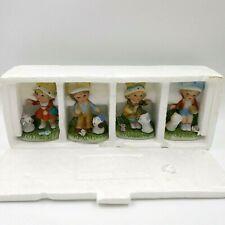 Homco #1430 Boys Girls Puppies Kittens Series Figurines Porcelain Set of 4 Nice