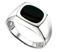 Men's Onyx Signet Ring Gents Solid Sterling Engagement Ring size P - Z