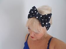 HEAD HAIR BAND BLACK WHITE SPOTS STRETCH  POLKA DOT BOW ladies ROCKABILLY ACTIVE