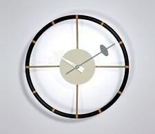 mcm mid century danish modern nelson style steering wheel ball star wall clock