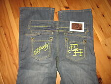 WOMENS 27 X 34 CHRISTIAN AUDIGIER DON ED HARDY BLUE JEANS LOW STRETCH BOOT DARK