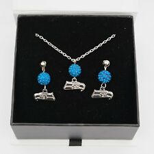 Seattle Seahawks Jewelry Bead Crystal Necklace and Earrings Set