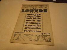 Publicité magasin Au louvre Paris 1930 accessoire vélo auto outillage porcelaine
