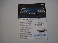advertising Pubblicità 1986 AUSTIN MONTEGO MG TURBO