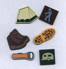 CAMPING  Brads. 12pcs. LRG. Scrapbooking / Craft. Hiking, Travel, Vacation