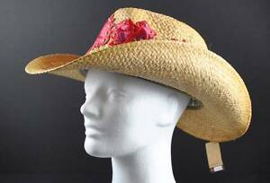 C.C Exclusives Tan Woven Red Floral Hat Cowboy Cowgirl Size S/M