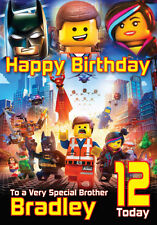The Lego Movie Birthday Card Personalised A5 Large any Name Age