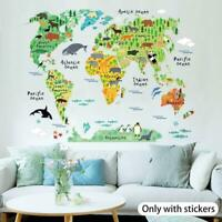 Animal Educational World Map Wall Sticker Decal For Kids Decor YK Room Baby Q3B7