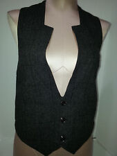 DIESEL Womens Casual Vest Size XS Black/Gray Blend Wool Blend