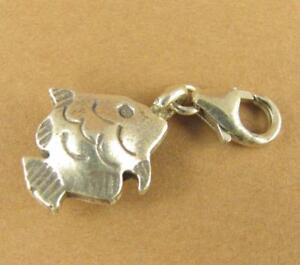 Fish shape clip-on charm. 2 sided. Sea life. Lobster clasp. Sterling silver 925.