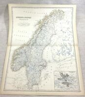 1861 Antik Map Of Schweden Norwegen Skandinavien Stockholm Hand- Farbig Johnston