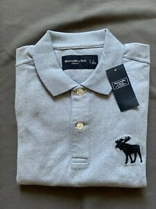 NEW Abercrombie & Fitch Men's Heather Light Blue Stretch Polo
