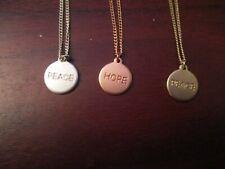 Ladies Metal Chain Triple Peace, Hope, Peace   Pendant Necklace