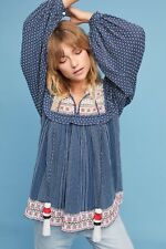 NEW Anthropologie Serafina Embroidered Peasant Top Size XS Hemant & Nandita