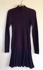 Lacoste Zigzag Stitch Knit Sweater Dress Wool Long Sleeve Size 36 6 Purple Blue