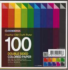 100 Sheets Double Sided Origami  Coloured Craft Paper